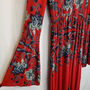 Free People Red Floral Maxi Bell Sleeves Size XSTP